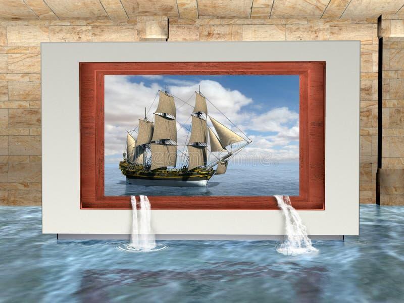 Сюрреалистическая галерея музея изобразительных искусств, корабль, высокорослое плавание иллюстрация вектора
