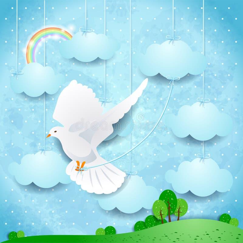 Сюрреалистический ландшафт с облаками голубя и смертной казни через повешение иллюстрация штока