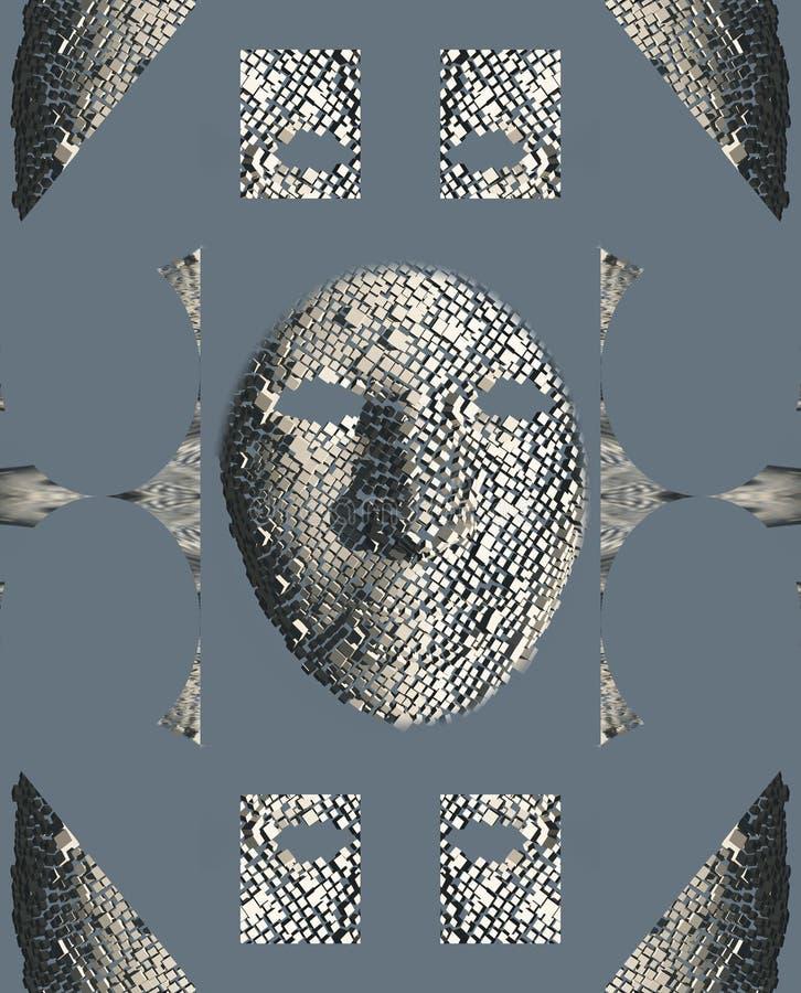Сюрреалистический лицевой щиток гермошлема в частях иллюстрация штока