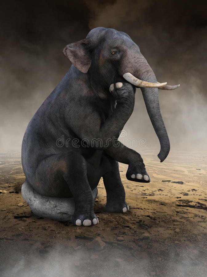 Сюрреалистический слон думает, идеи, нововведение стоковое фото rf