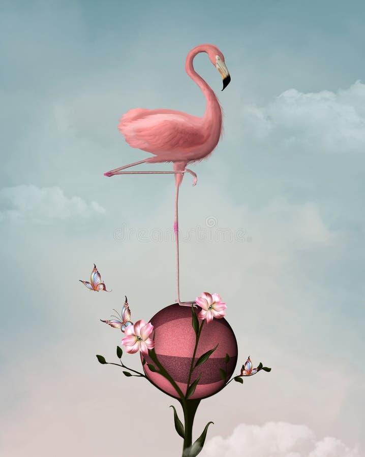 Сюрреалистический фламинго иллюстрация штока