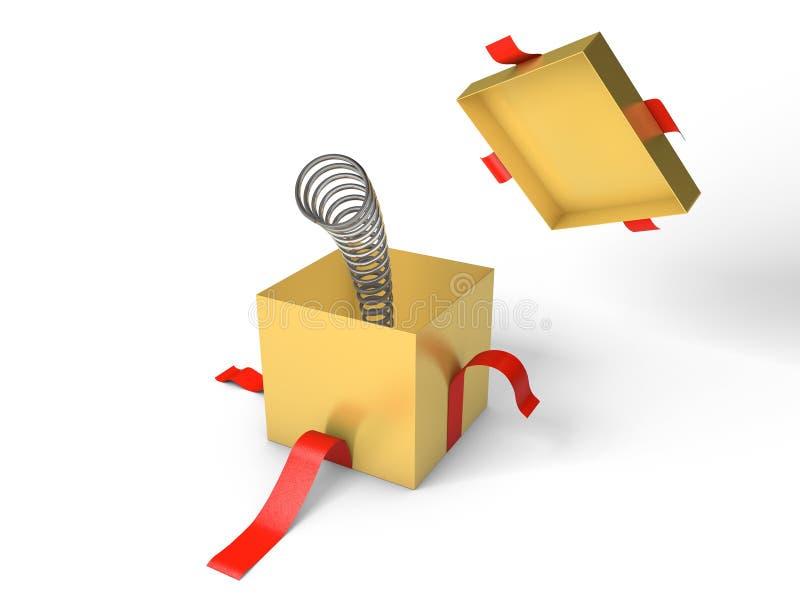 сярприз Раскройте золотую подарочную коробку с весной внутрь бесплатная иллюстрация