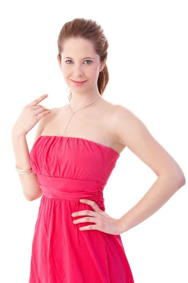Ся девушка в шикарном платье лета стоковое изображение