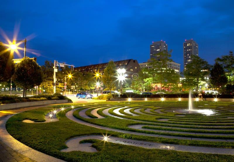 Славная предпосылка ночи Бостона города стоковая фотография rf