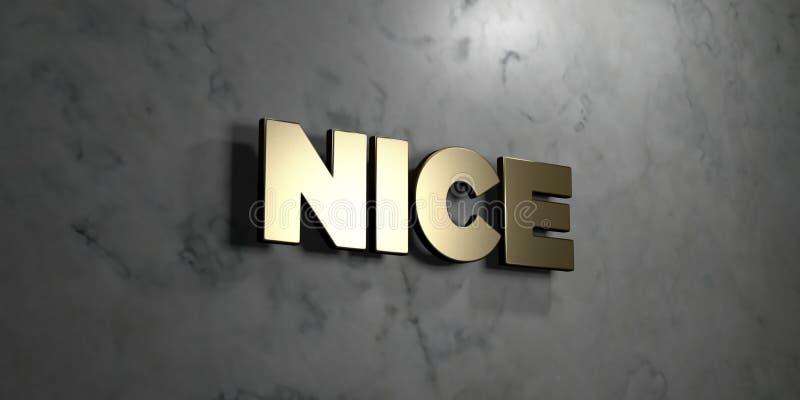 Славное - знак золота установленный на лоснистой мраморной стене - 3D представило иллюстрацию неизрасходованного запаса королевск иллюстрация вектора