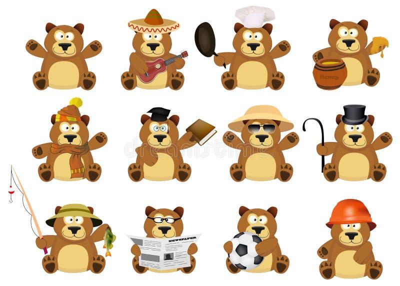 Славный комплект шаржа медведей иллюстрация штока
