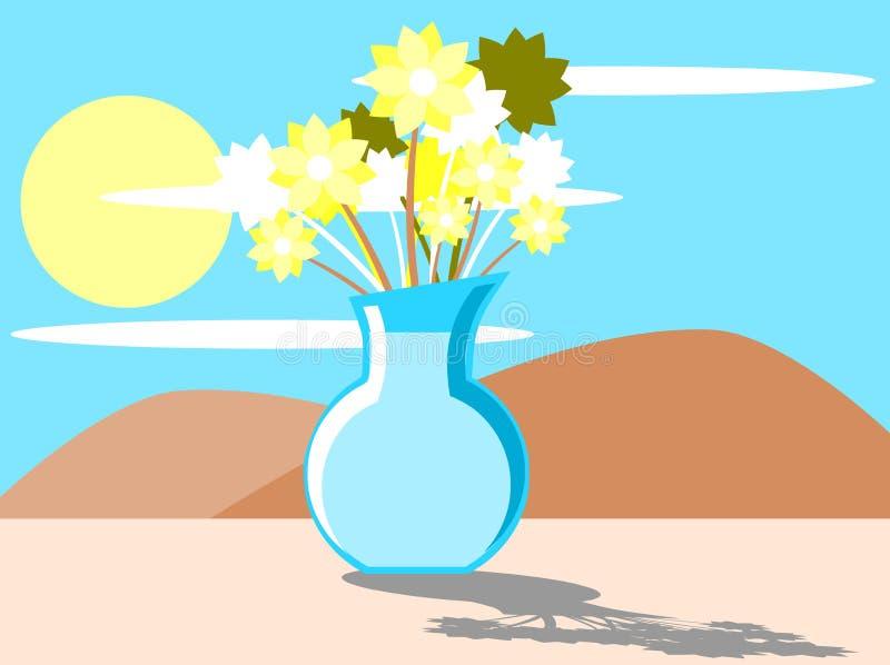 Славный стилизованный красочный цветочный горшок на windowsill иллюстрация штока