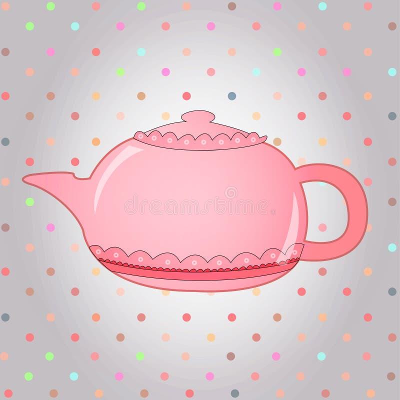 Славный чайник пинка утра бесплатная иллюстрация