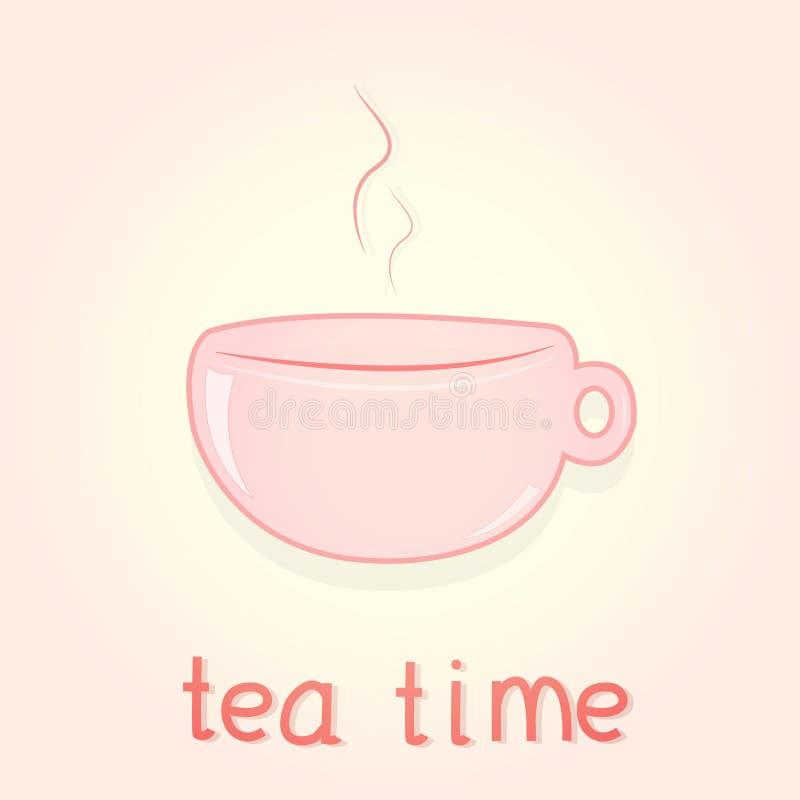 Славный чай утра с розовой чашкой иллюстрация штока