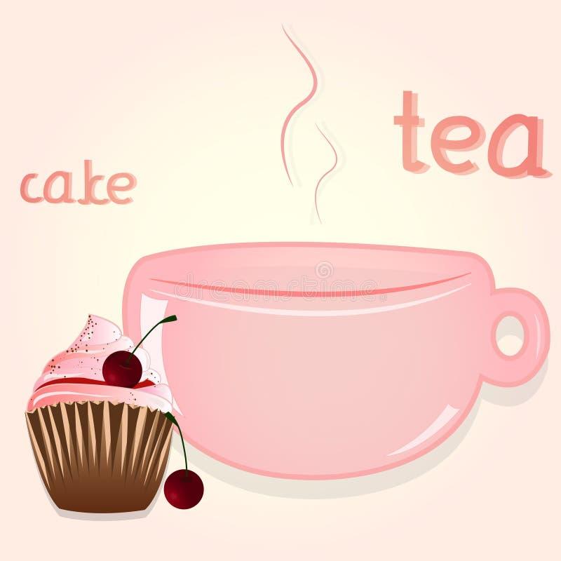 Славный чай утра с тортом иллюстрация штока