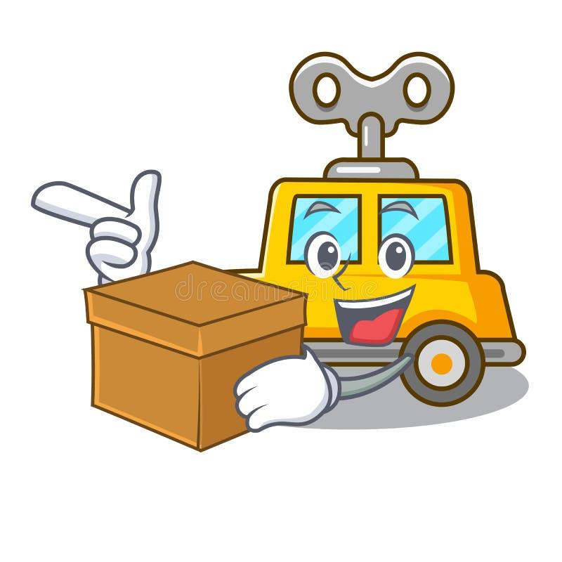 С автомобилем игрушки clockwork мультфильма коробки в таблице иллюстрация штока