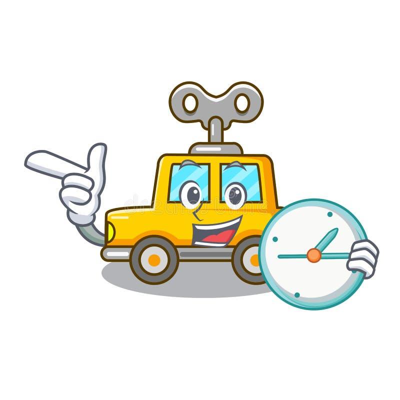 С автомобилем игрушки clockwork мультфильма часов в таблице иллюстрация штока
