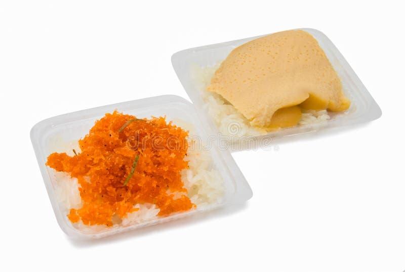 Сладостная верхняя часть липкого риса с испаренным заварным кремом яичка стоковое фото