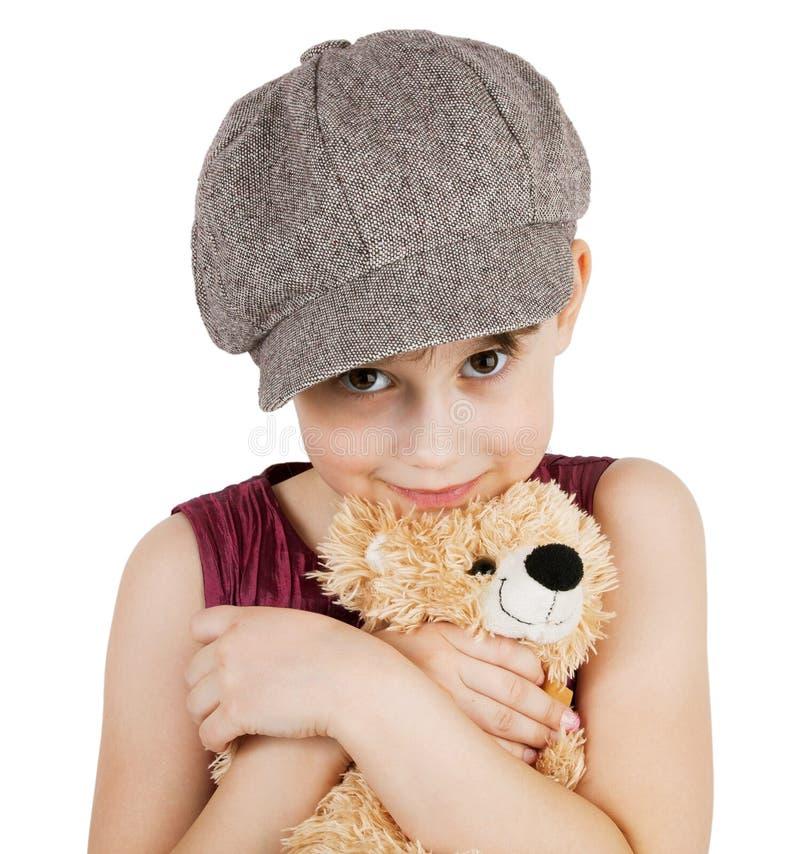 Сладостная девушка с плюшевым медвежонком стоковые изображения
