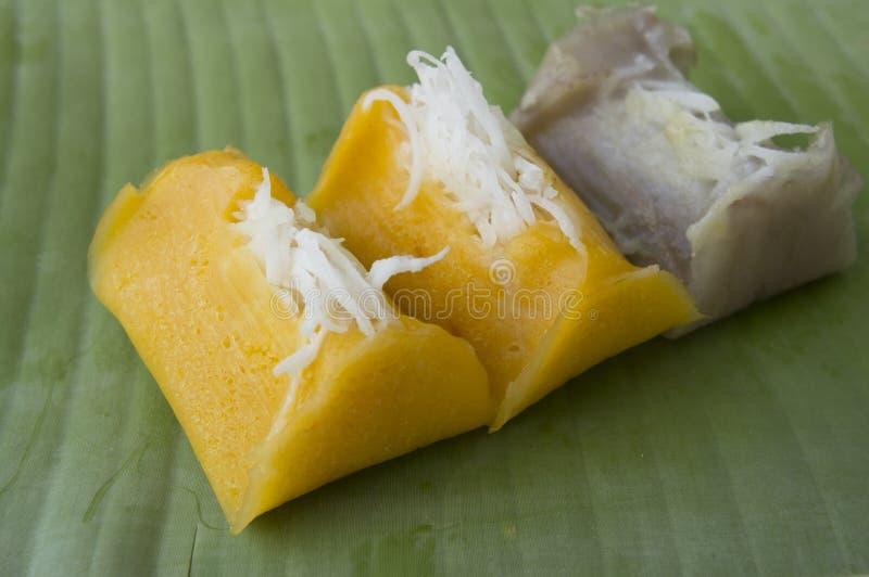 Сладостная тайская концепция ингридиентов молока кокоса банана стоковые изображения