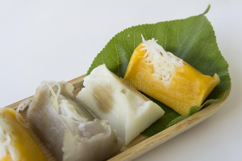 Сладостная тайская концепция ингридиентов молока кокоса банана стоковое изображение