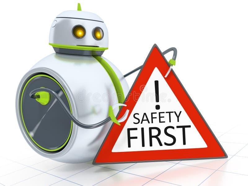 Сладостное маленькое безопасность прежде всего робота иллюстрация штока