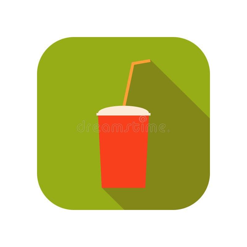 Сладостное питье, сода в пластичной чашке с выпивая соломой Плоский значок цвета фаст-фуда вектор иллюстрация вектора