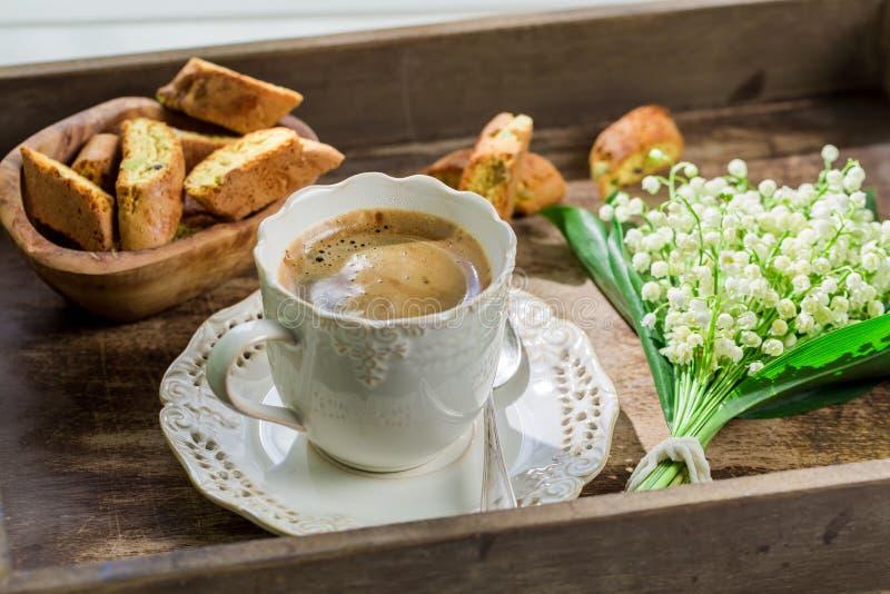 Сладостное cantuccini с кофе стоковая фотография