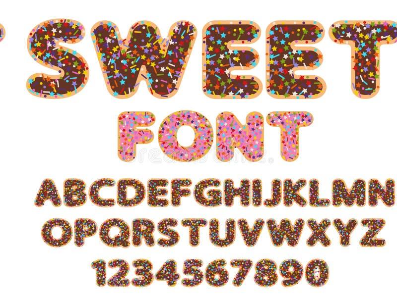 Сладостные алфавит и цифр шрифта бесплатная иллюстрация