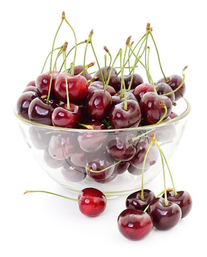 Сладостные вишни в вазе стоковое изображение rf
