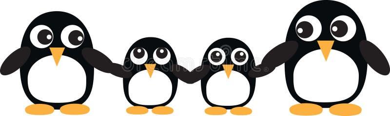 Сладостные заголовок или знамя семьи пингвина иллюстрация вектора