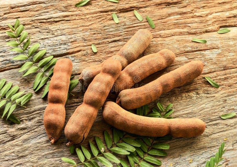 Сладостные стручки тамаринда с листьями на деревенской деревянной предпосылке стоковое изображение