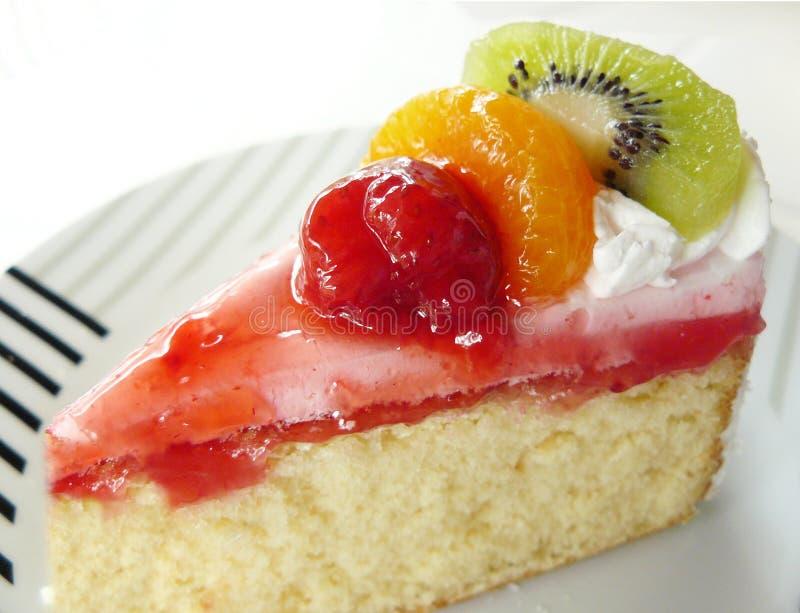Сладостный ванильный cream торт плодоовощ стоковое фото