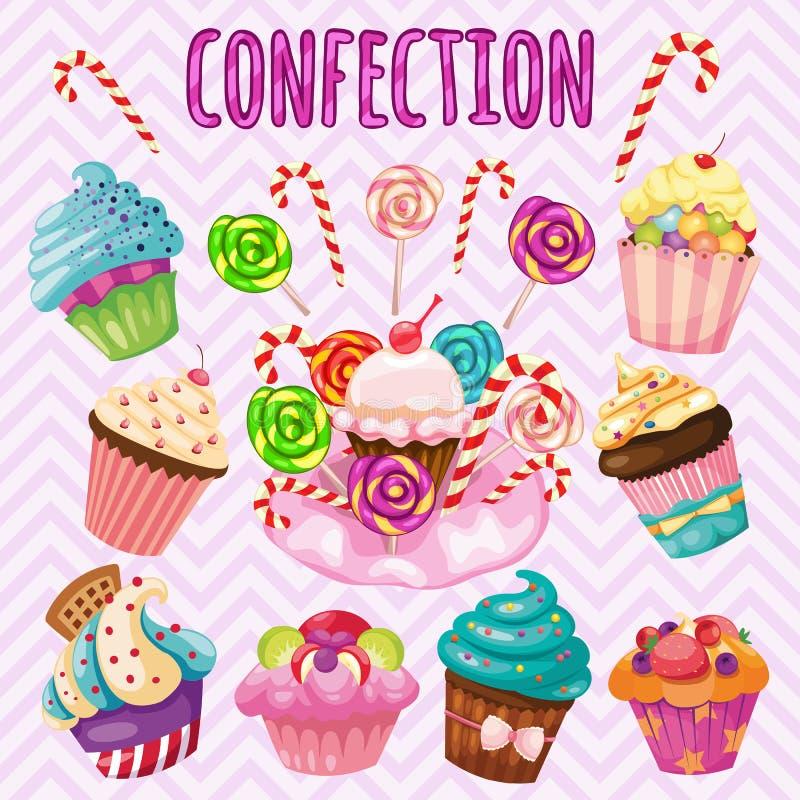 Сладостный комплект взрыва, конфета, торты, леденцы на палочке иллюстрация вектора