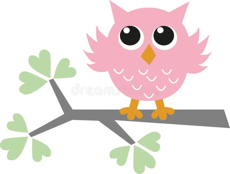 Сладостный маленький розовый сыч иллюстрация штока