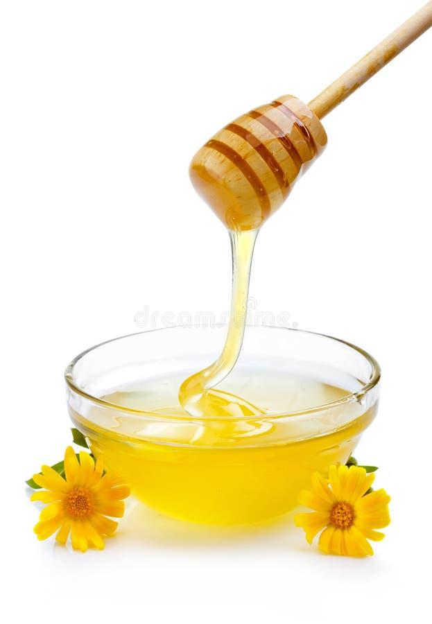 Сладостный мед лить от деревянного ковша в стеклянном изолированном шаре стоковое изображение rf