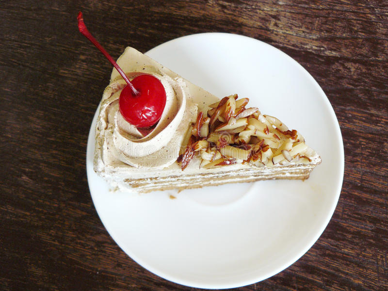 сладостный торт миндалины кофе стоковая фотография
