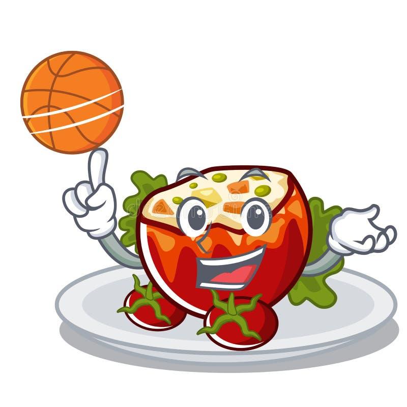 С баскетболом заполнил томаты положенные на плиты характера иллюстрация вектора