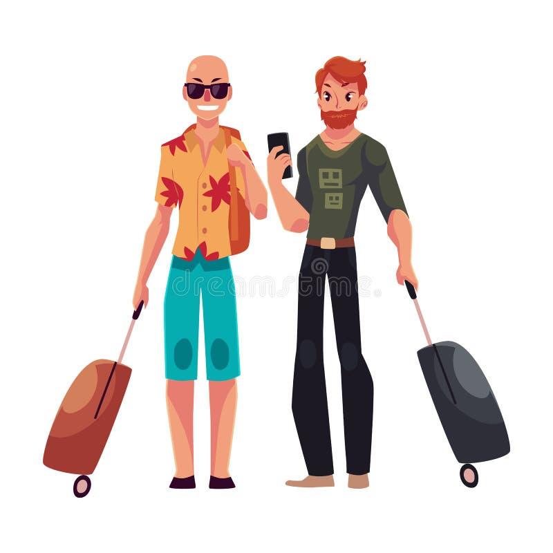 2 с волосами молодых человеков, облыселых и красных, путешествующ с чемоданами иллюстрация штока