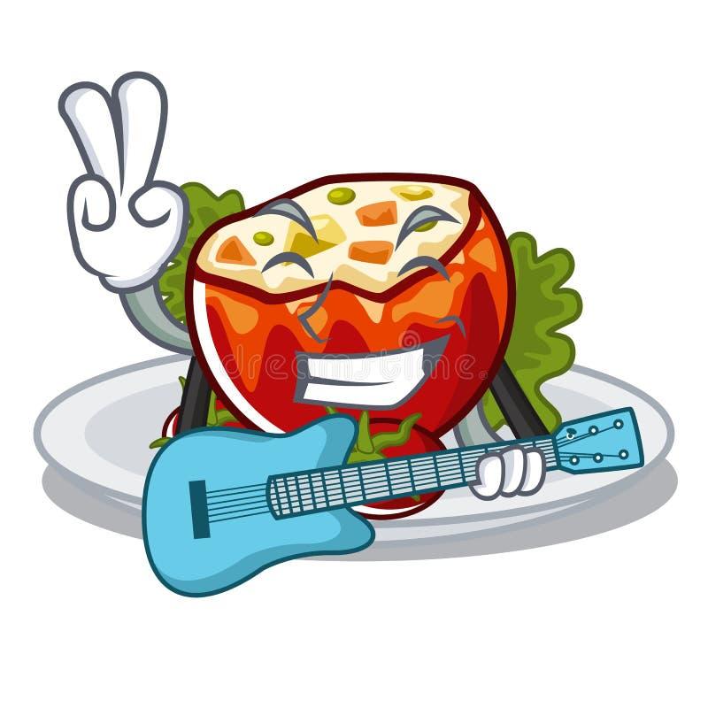 С гитарой заполнил томаты на доске мультфильма бесплатная иллюстрация