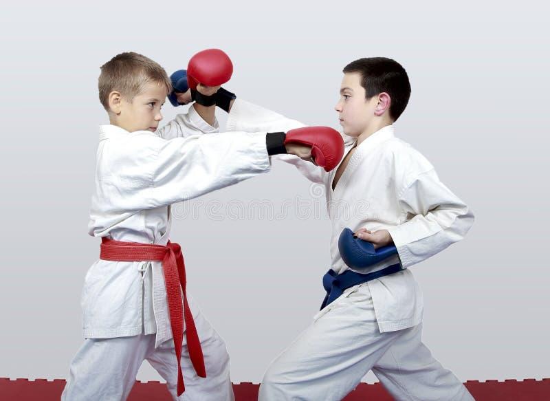 С голубым и красным поясом мальчики тренируют спаренное карате тренировок стоковое изображение rf