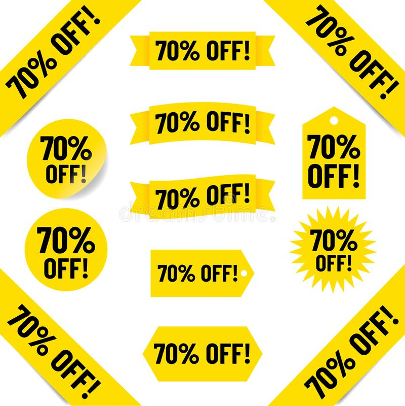 70% с графиков бирки продаж иллюстрация вектора
