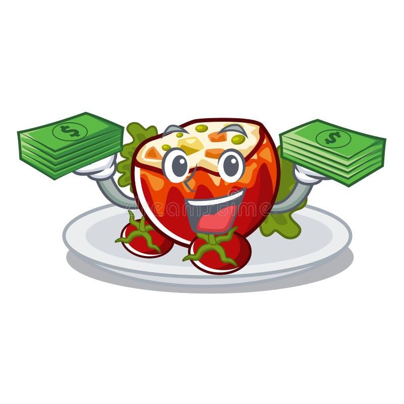 С деньгами сумка заполнила томаты на доске мультфильма иллюстрация вектора