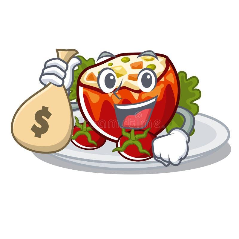 С деньгами сумка заполнила томаты положенные на плиты характера бесплатная иллюстрация
