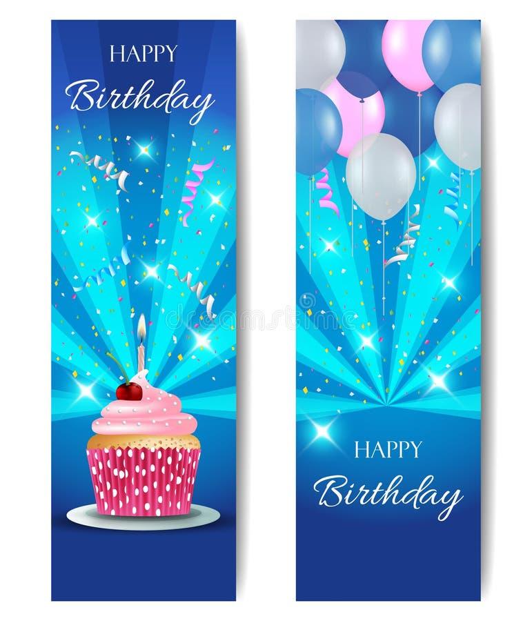 С днем рождения вертикальные знамена бесплатная иллюстрация