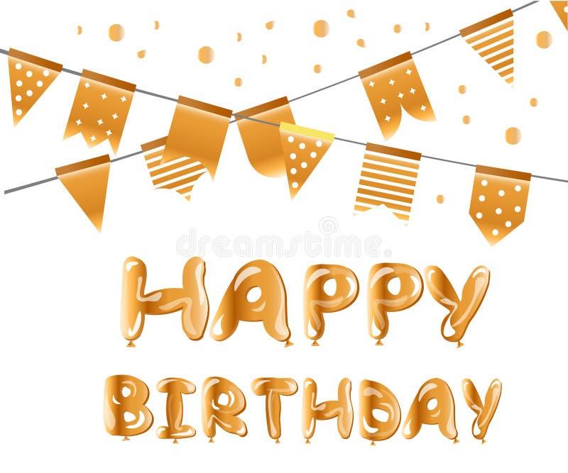 С днем рождения воздушные шары золота бесплатная иллюстрация