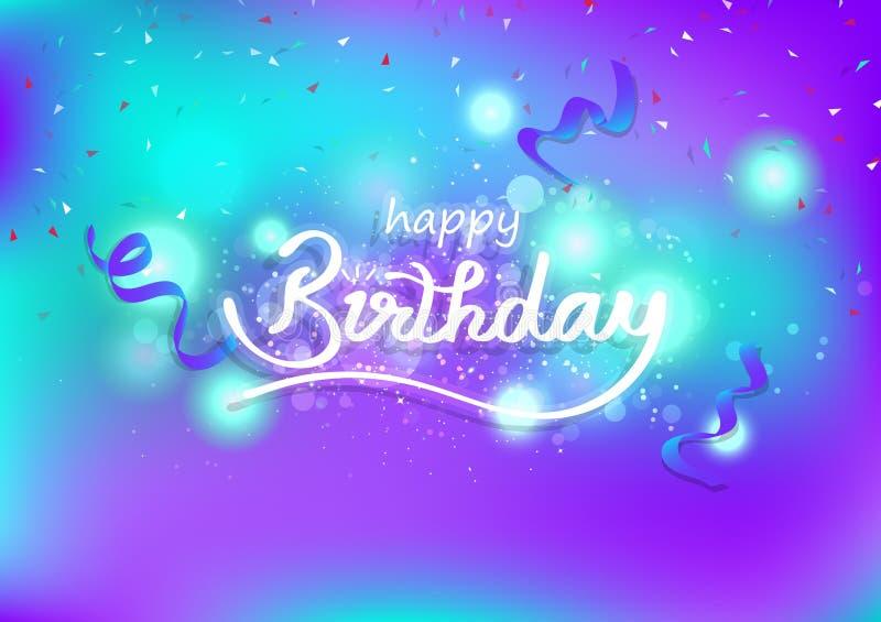 С днем рождения, дизайн лент каллиграфический творческий и волшебные снимая звезды, торжество украшают, светлый взрывая фон, иллюстрация штока