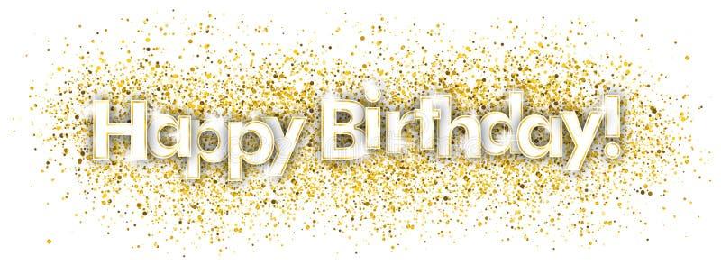 С днем рождения золотой Confetti иллюстрация штока