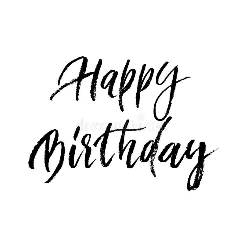 С днем рождения литерность шрифта вектора каллиграфии кисти поздравительной открытки нарисованная рукой бесплатная иллюстрация