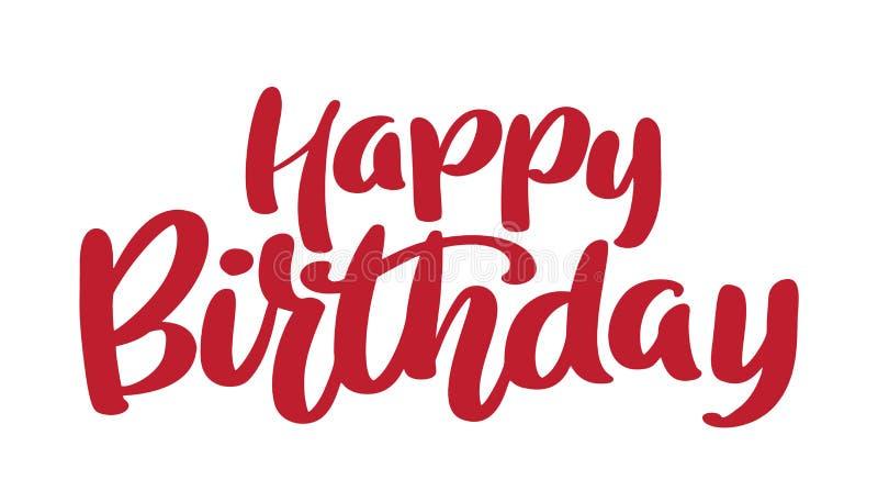 С днем рождения нарисованная рукой фраза текста График слова литерности каллиграфии, винтажное искусство для плакатов и поздравит бесплатная иллюстрация