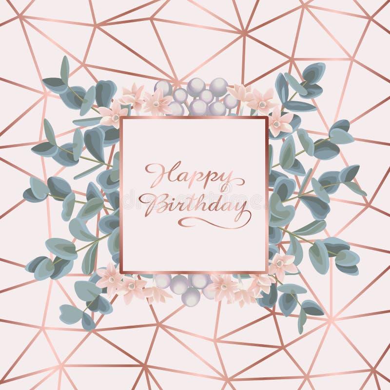 С днем рождения поздравительная открытка с евкалиптом иллюстрация вектора
