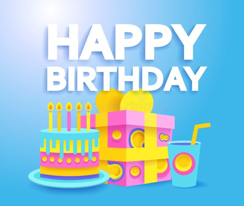 С днем рождения поздравительная открытка или плакат Стиль Papercut современный иллюстрация вектора