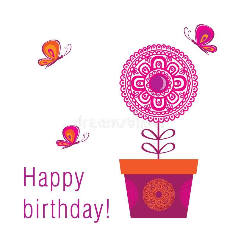 С днем рождения поздравительная открытка с цветком и бабочками весны бесплатная иллюстрация