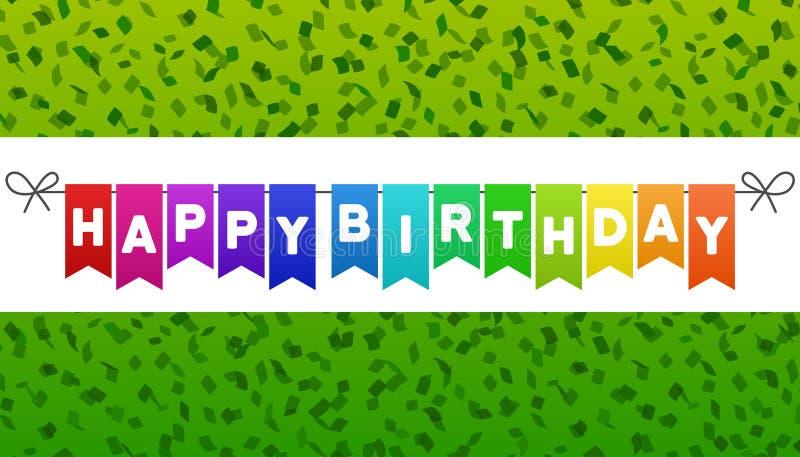 С днем рождения сигнализирует знамя Зеленая предпосылка Confetti Вектор Eps10 бесплатная иллюстрация