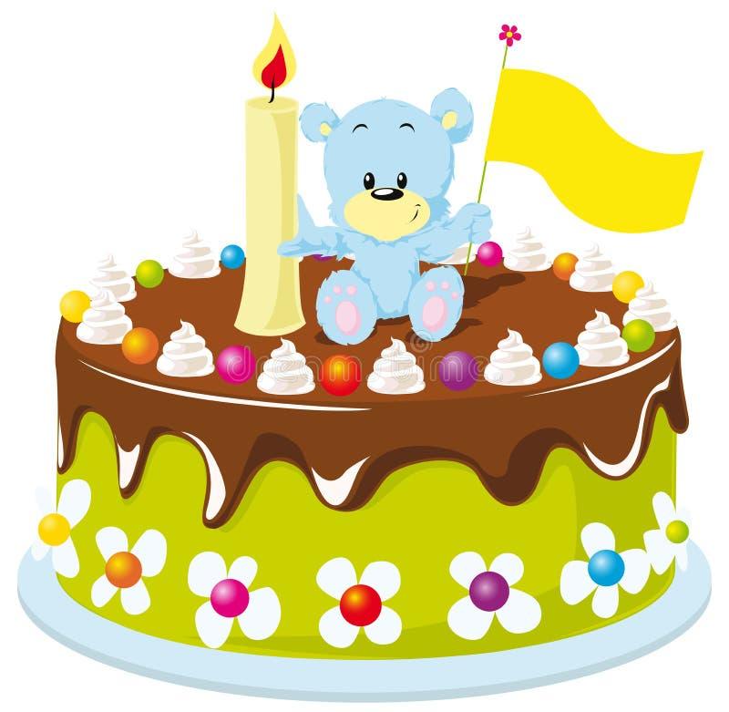 С днем рождения торт для младенца иллюстрация вектора